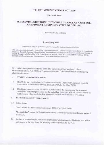 Telecommunication Order - 2013 (page 2)